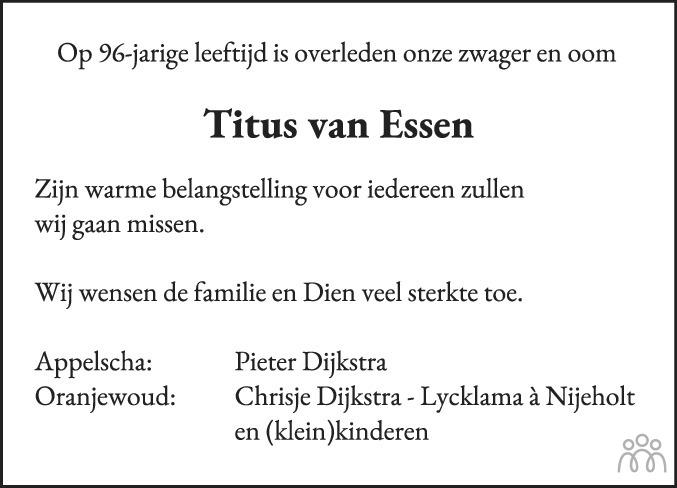 Overlijdensbericht van Titus van Essen in Leeuwarder Courant
