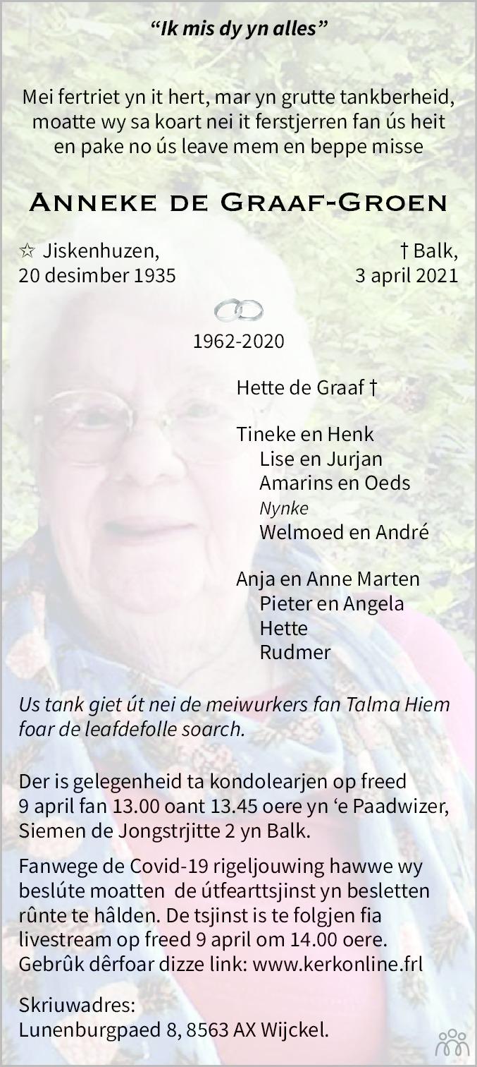 Overlijdensbericht van Anneke de Graaf-Groen in Leeuwarder Courant