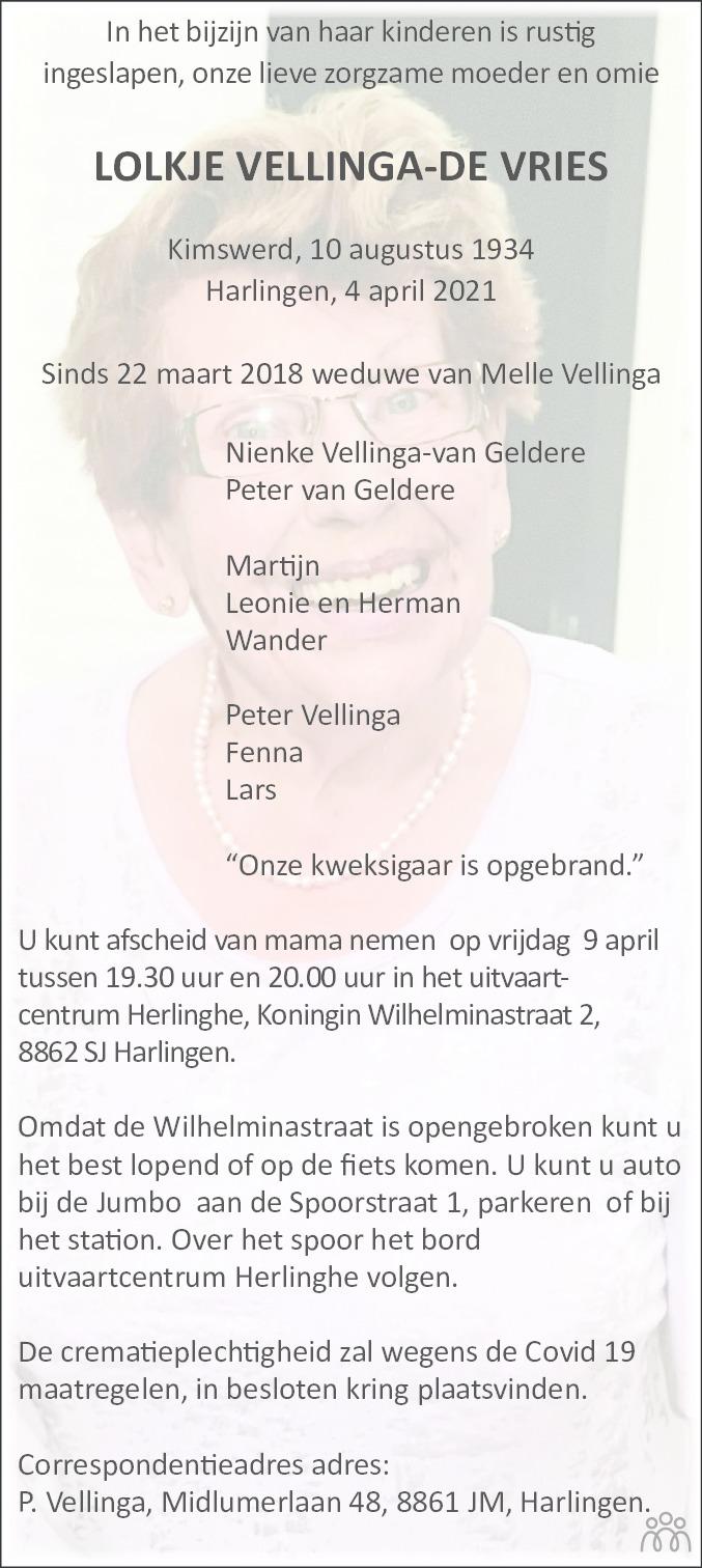 Overlijdensbericht van Lolkje Vellinga-de Vries in Leeuwarder Courant