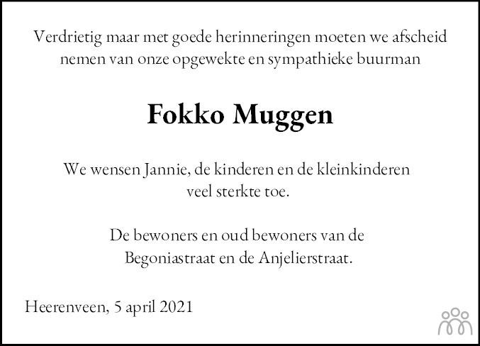Overlijdensbericht van Fokko Muggen in Heerenveense Courant