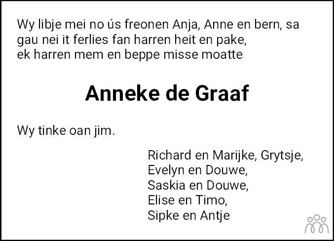 Overlijdensbericht van Anneke de Graaf-Groen in Balkster Courant