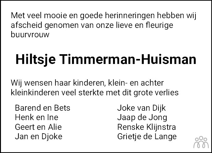 Overlijdensbericht van Hiltje Timmerman-Huisman in Jouster Courant