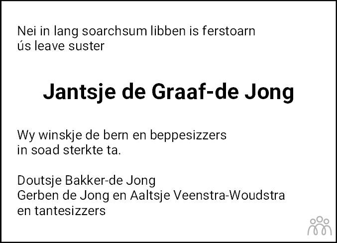 Overlijdensbericht van Jantsje de Graaf–de Jong in Leeuwarder Courant