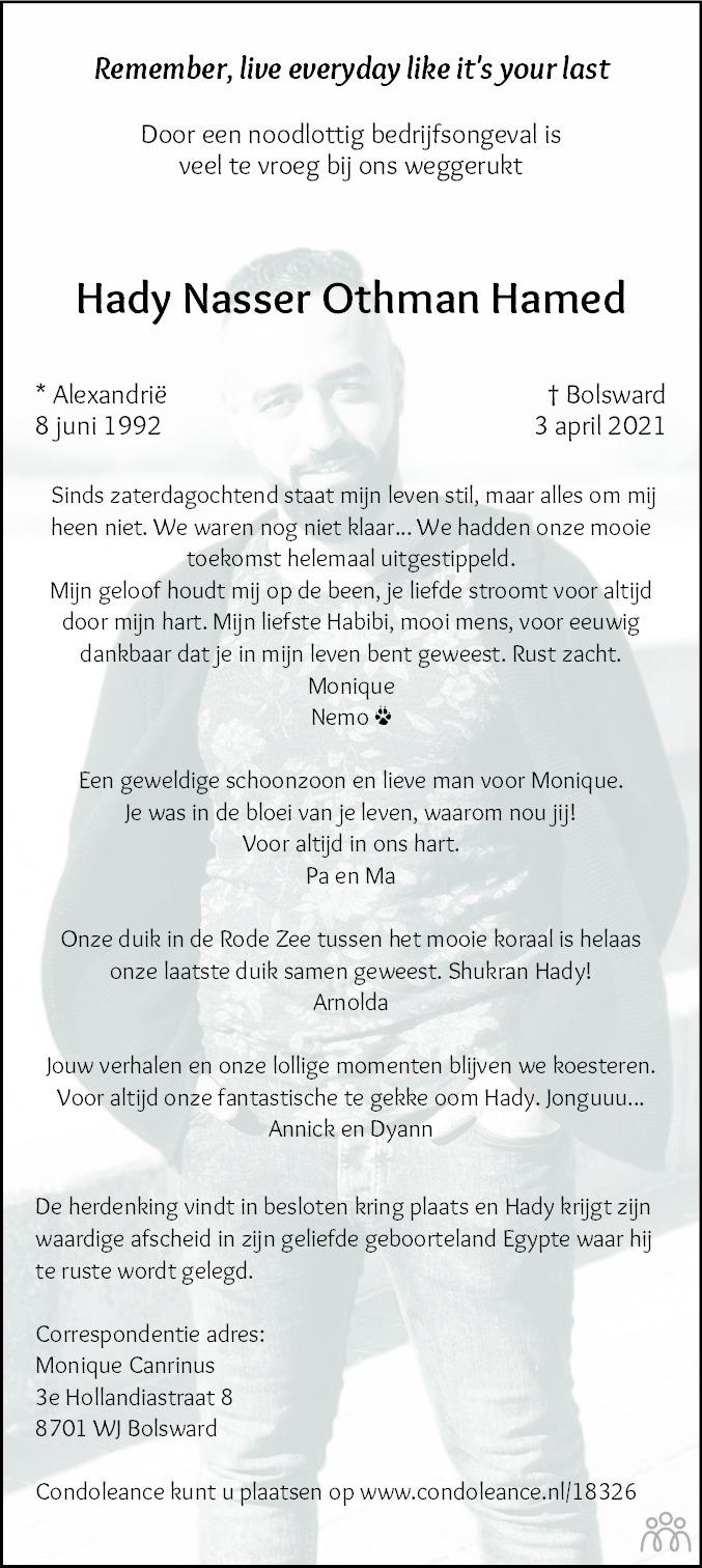 Overlijdensbericht van Hady Nasser Othman Hamed in Bolswards Nieuwsblad