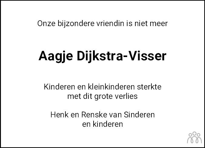 Overlijdensbericht van Aagje Dijkstra-Visser in Leeuwarder Courant
