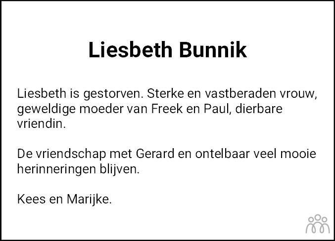 Overlijdensbericht van Liesbeth Bunnik in Dagblad van het Noorden