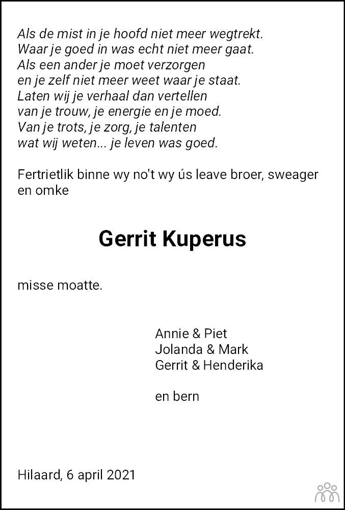 Overlijdensbericht van Gerrit Kuperus in Leeuwarder Courant