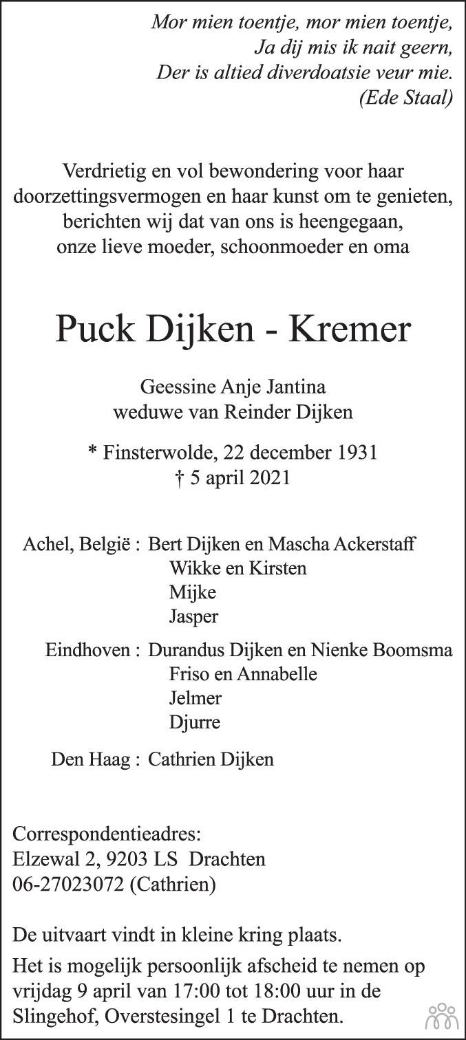 Overlijdensbericht van Puck (Geessine Anje Jantina) Dijken-Kremer in Dagblad van het Noorden