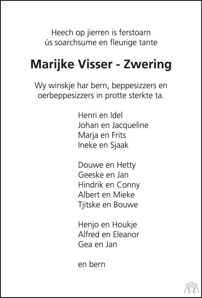 Overlijdensbericht van Marijke Visser-Zwering in Leeuwarder Courant