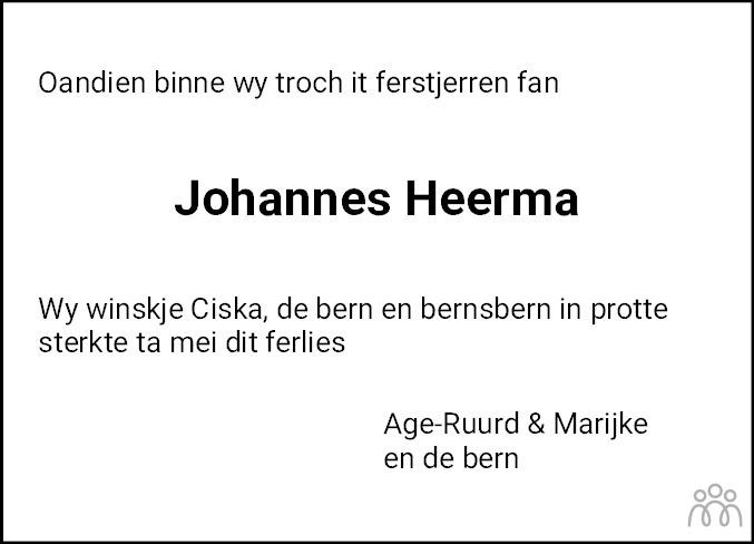 Overlijdensbericht van Johannes Heerma in Leeuwarder Courant