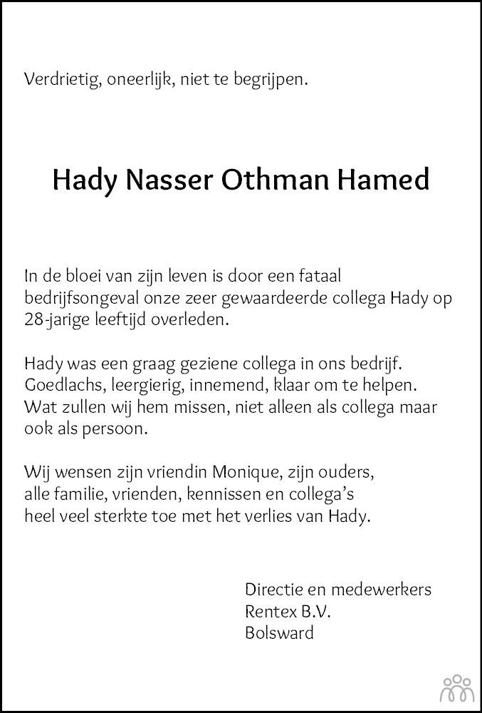 Overlijdensbericht van Hady Nasser Othman Hamed in Leeuwarder Courant