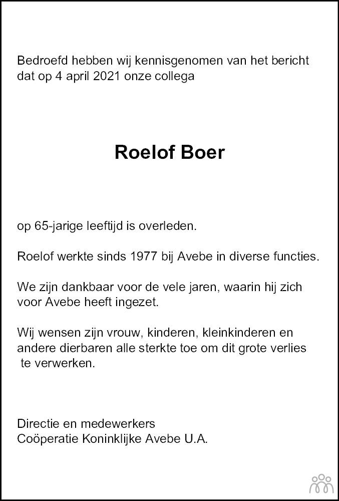 Overlijdensbericht van Roelof Boer in Dagblad van het Noorden