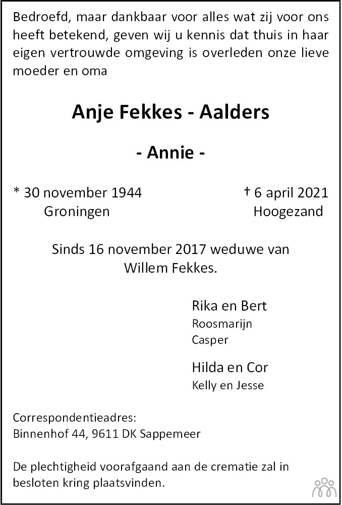 Overlijdensbericht van Anje (Annie) Fekkes-Aalders in Dagblad van het Noorden