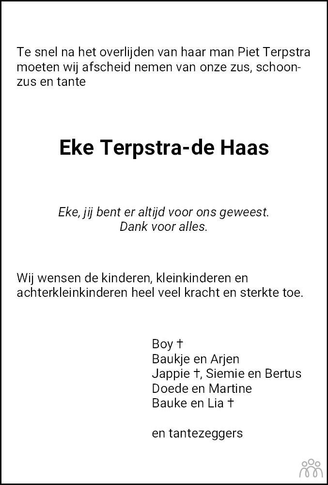 Overlijdensbericht van Eelkje (Eke) Terpstra-de Haas in Leeuwarder Courant