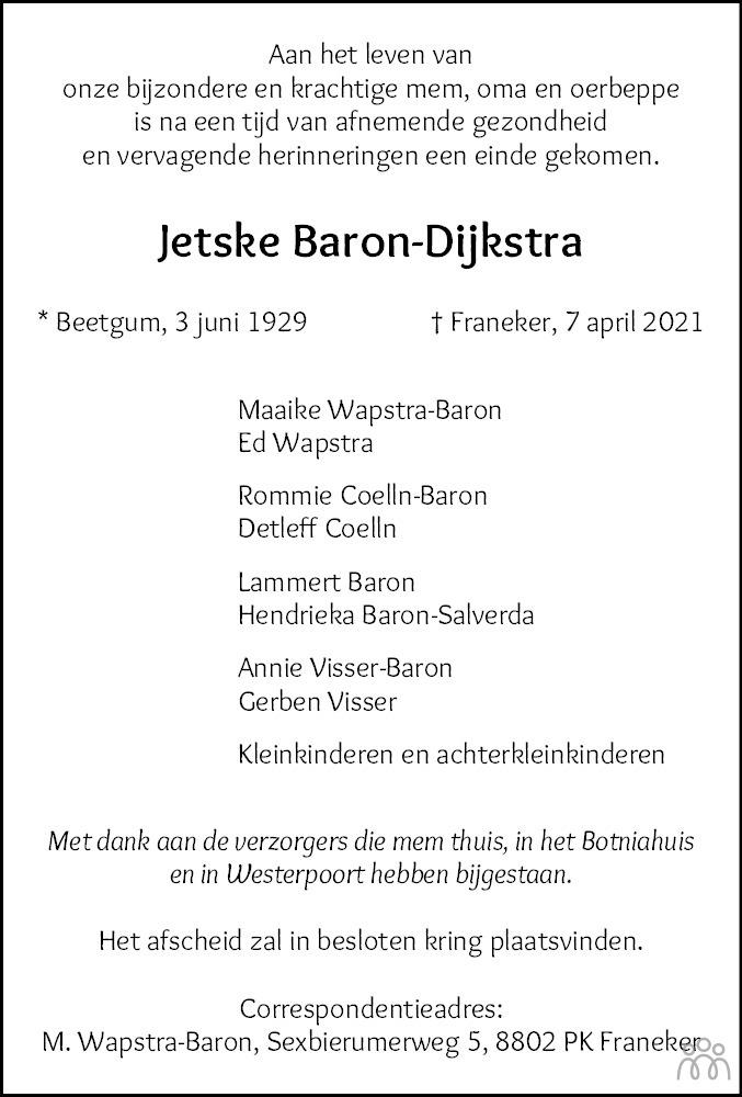Overlijdensbericht van Jetske Baron-Dijkstra in Leeuwarder Courant