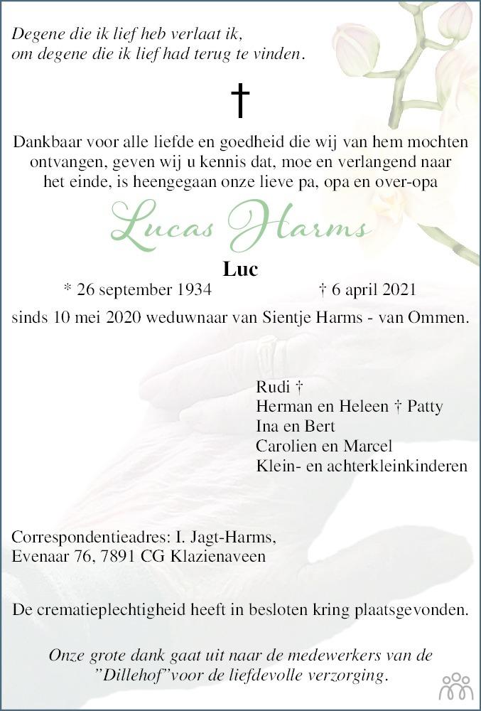 Overlijdensbericht van Lucas (Luc) Harms in Emmen Nu