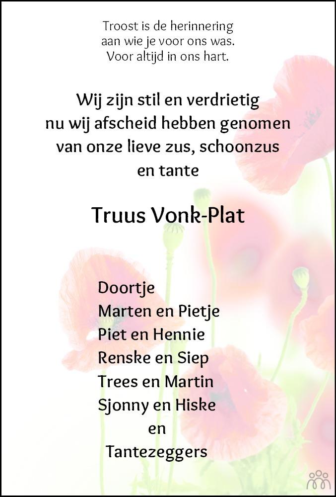 Overlijdensbericht van Gertrud Johanna (Truus) Vonk-Plat in De Stellingwerf