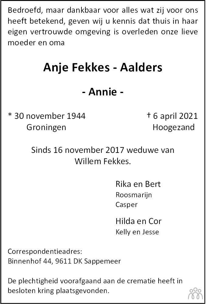 Overlijdensbericht van Anje (Annie) Fekkes-Aalders in HS-krant