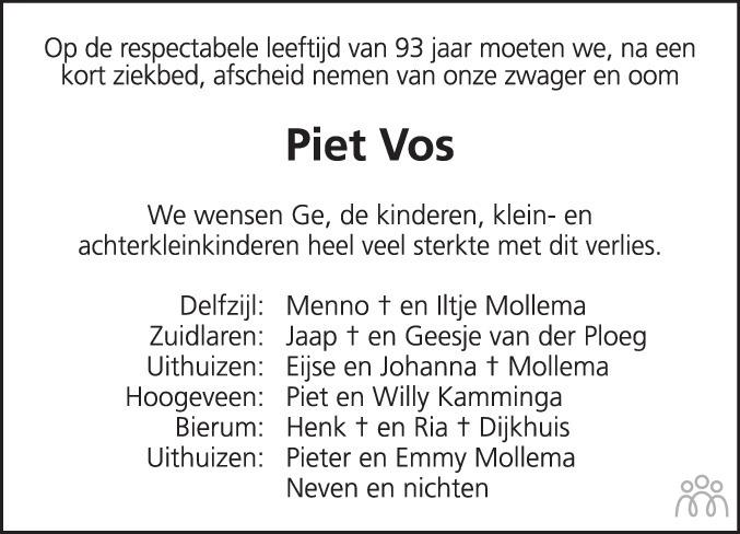 Overlijdensbericht van Pieter Klaas (Piet) Vos in Eemsbode/Noorderkrant