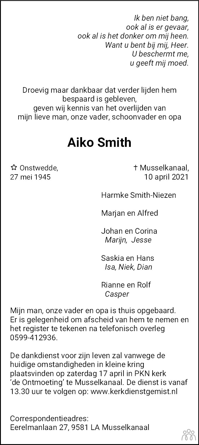 Overlijdensbericht van Aiko Smith in Dagblad van het Noorden