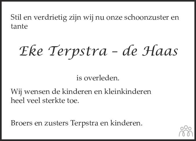 Overlijdensbericht van Eelkje (Eke) Terpstra-de Haas in Franeker Courant