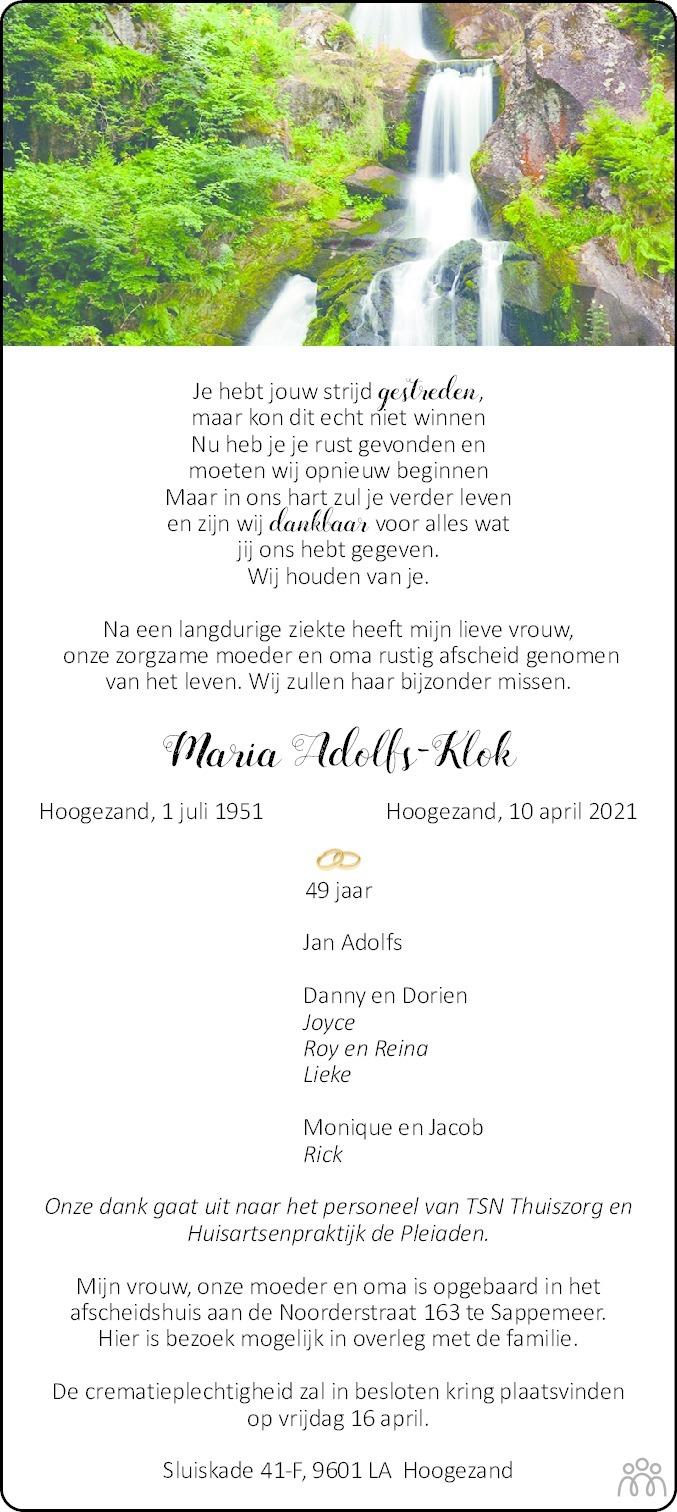 Overlijdensbericht van Maria Adolfs-Klok in Dagblad van het Noorden