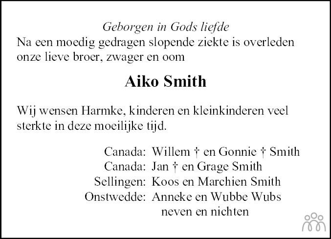 Overlijdensbericht van Aiko Smith in Kanaalstreek/Ter Apeler Courant