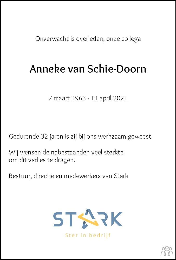 Overlijdensbericht van Anneke van Schie-Doorn in Hoogeveensche Courant