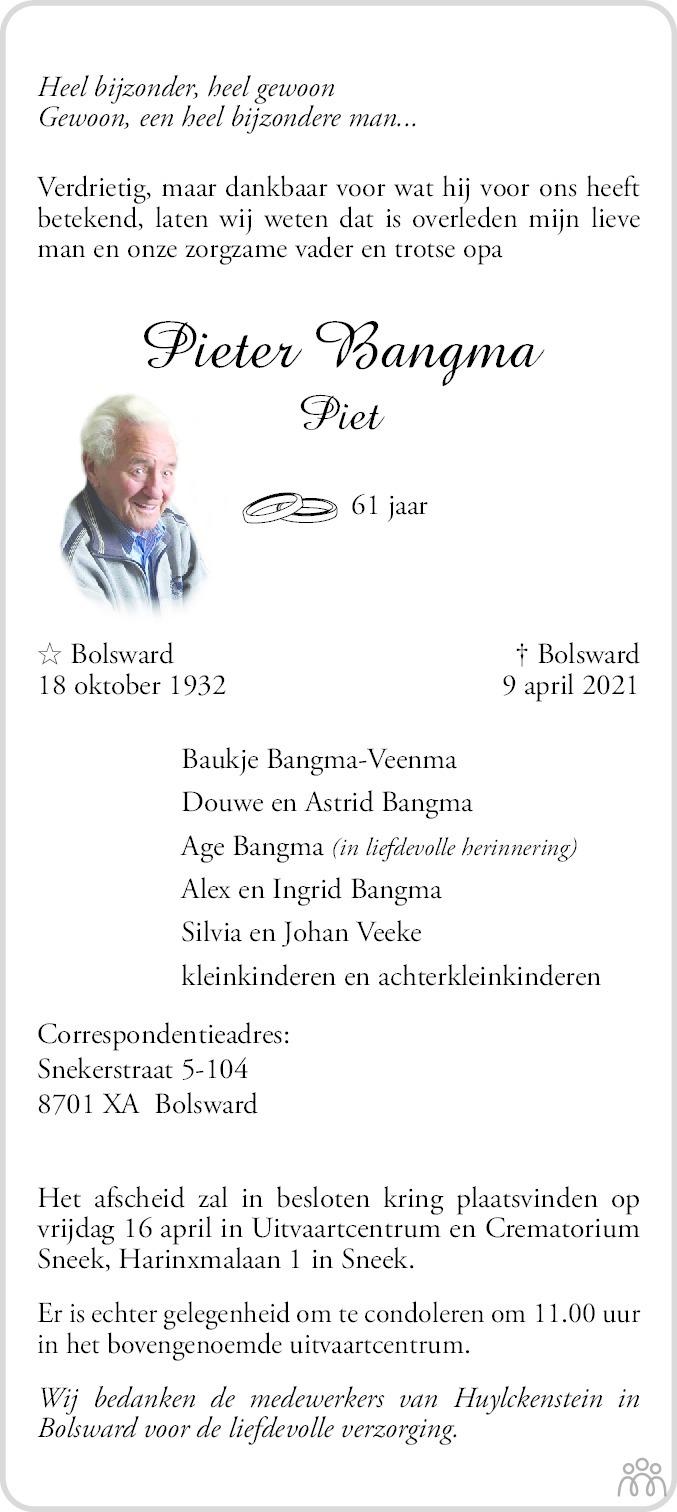 Overlijdensbericht van Pieter (Piet) Bangma in Leeuwarder Courant