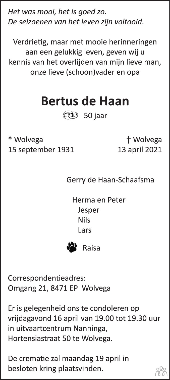 Overlijdensbericht van Bertus de Haan in De Stellingwerf