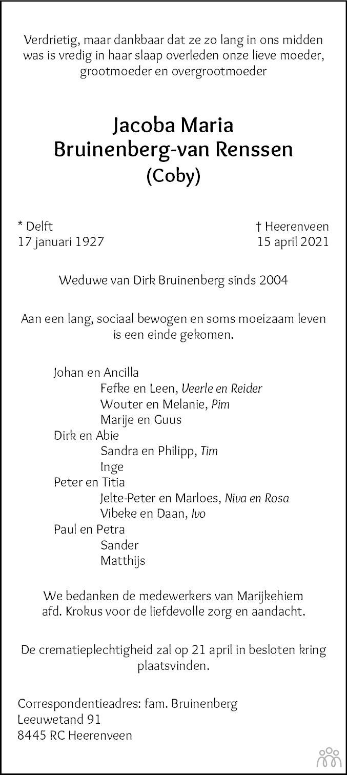 Overlijdensbericht van Jacoba Maria (Coby) Bruinenberg-van Renssen in Leeuwarder Courant