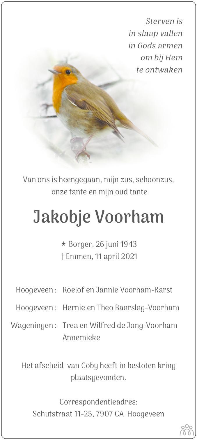 Overlijdensbericht van Jakobje Voorham in Dagblad van het Noorden