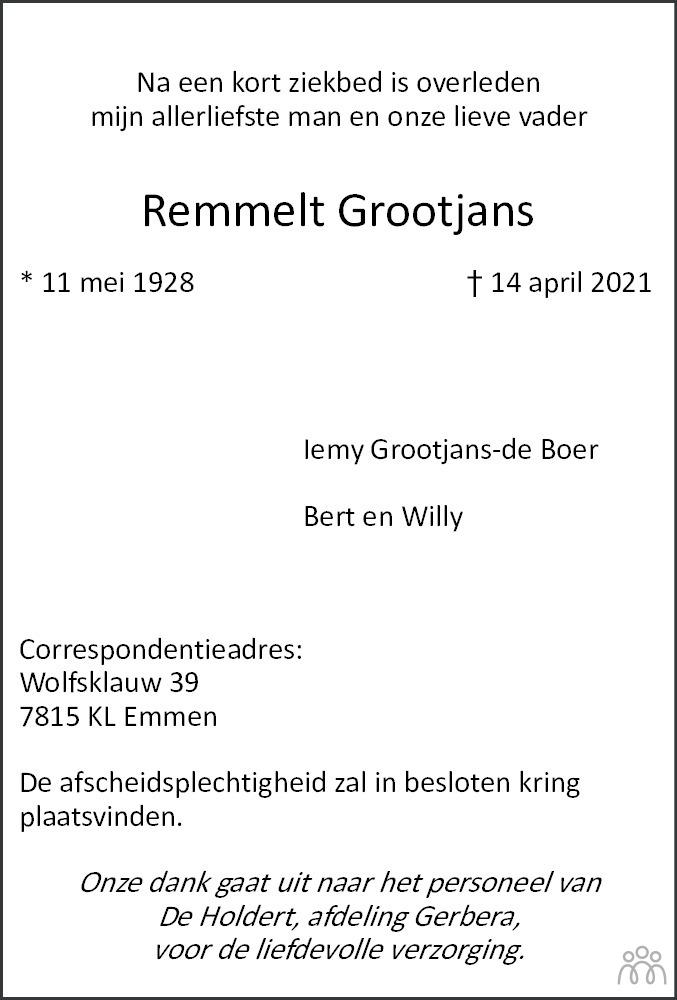Overlijdensbericht van Remmelt Grootjans in Dagblad van het Noorden