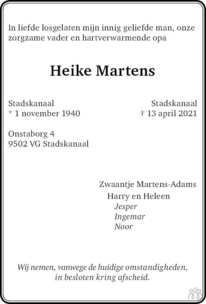 Overlijdensbericht van Heike Martens in Dagblad van het Noorden