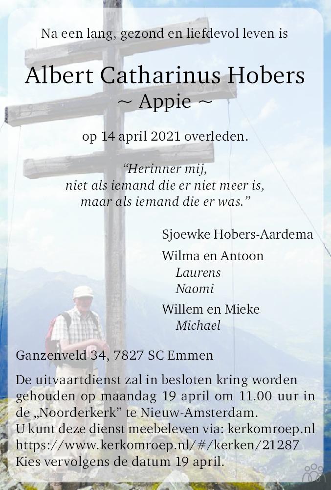 Overlijdensbericht van Albert (Appie) Catharinus Hobers in Dagblad van het Noorden