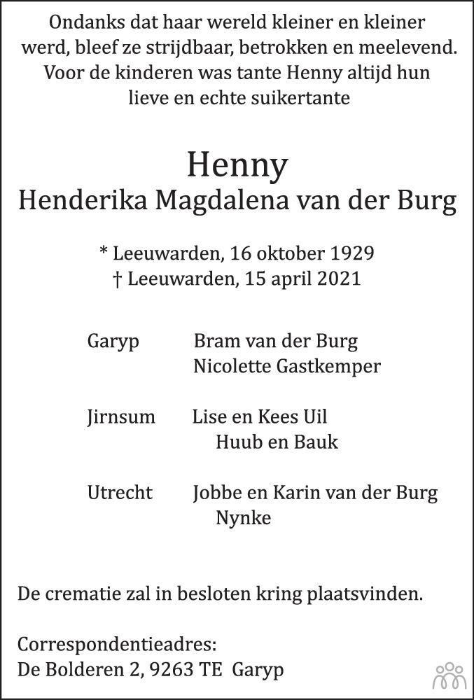 Overlijdensbericht van Henny (Henderika Magdalena) van der Burg in Leeuwarder Courant