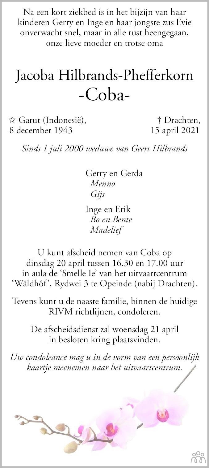 Overlijdensbericht van Jacoba (Coba) Hilbrands-Phefferkorn in Leeuwarder Courant