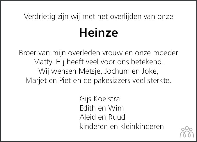 Overlijdensbericht van Heinze Bakker in Leeuwarder Courant