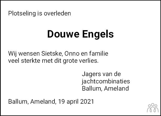 Overlijdensbericht van Douwe Oene Engels in Leeuwarder Courant