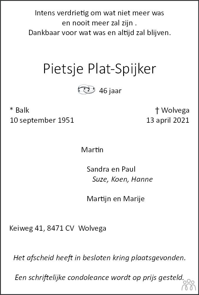 Overlijdensbericht van Pietsje Plat-Spijker in De Stellingwerf