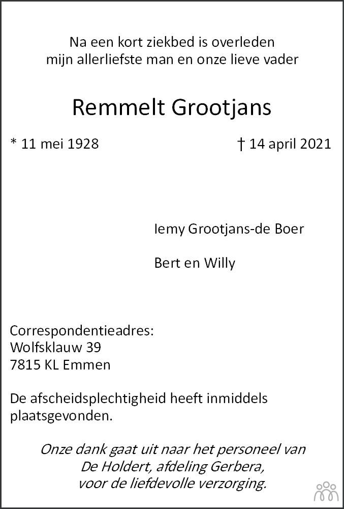 Overlijdensbericht van Remmelt Grootjans in Emmen Nu
