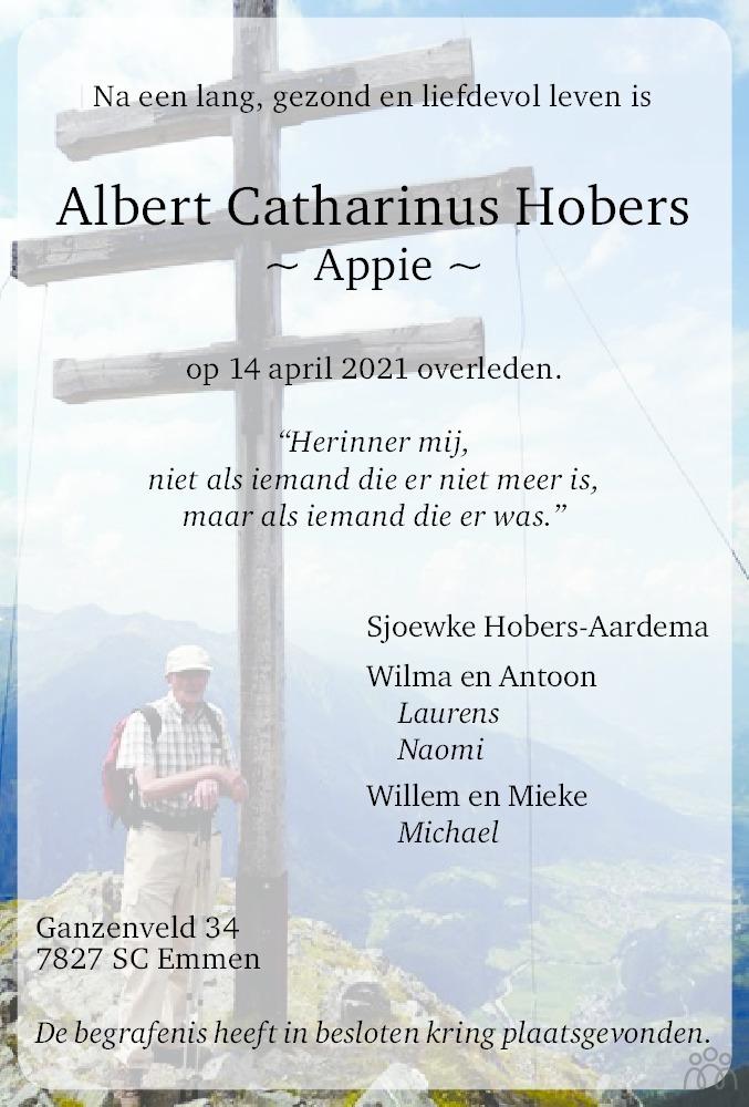 Overlijdensbericht van Albert (Appie) Catharinus Hobers in Emmen Nu