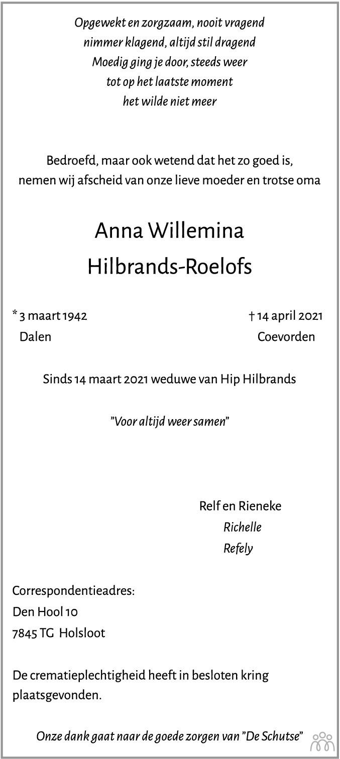 Overlijdensbericht van Anna Willemina Hilbrands-Roelofs in Coevorden Huis aan Huis
