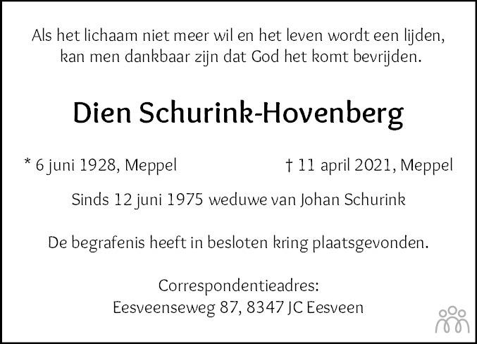 Overlijdensbericht van Dien Schurink-Hovenberg in Meppeler Courant