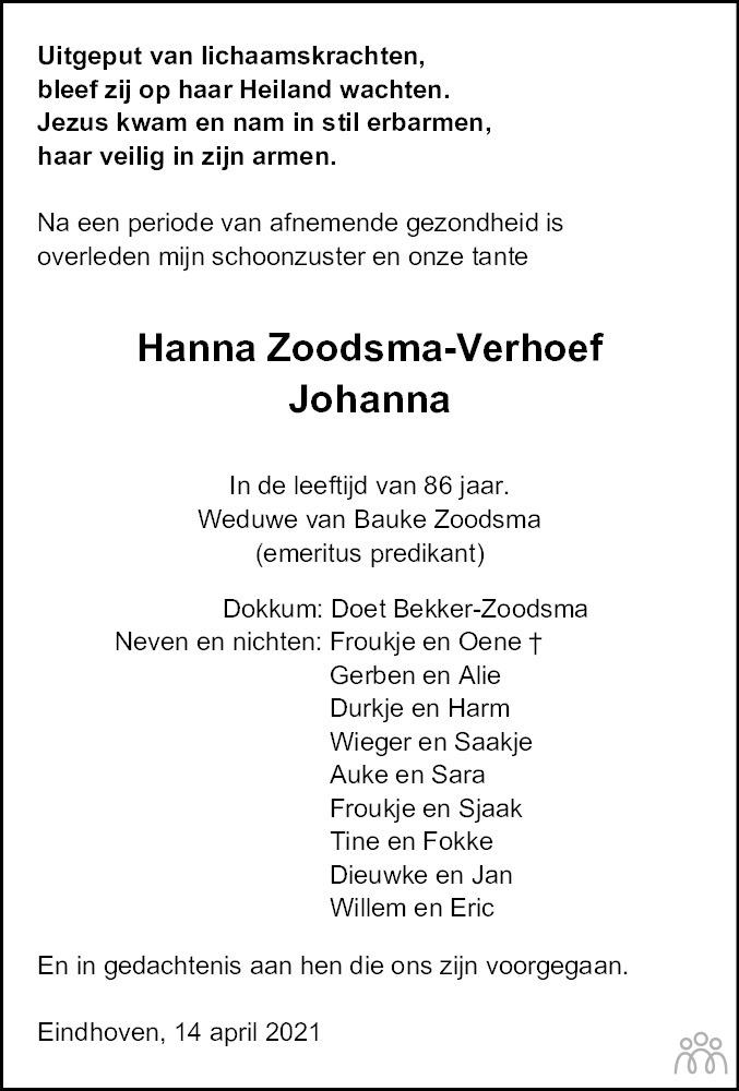 Overlijdensbericht van Hanna (Johanna) Zoodsma-Verhoef in Leeuwarder Courant