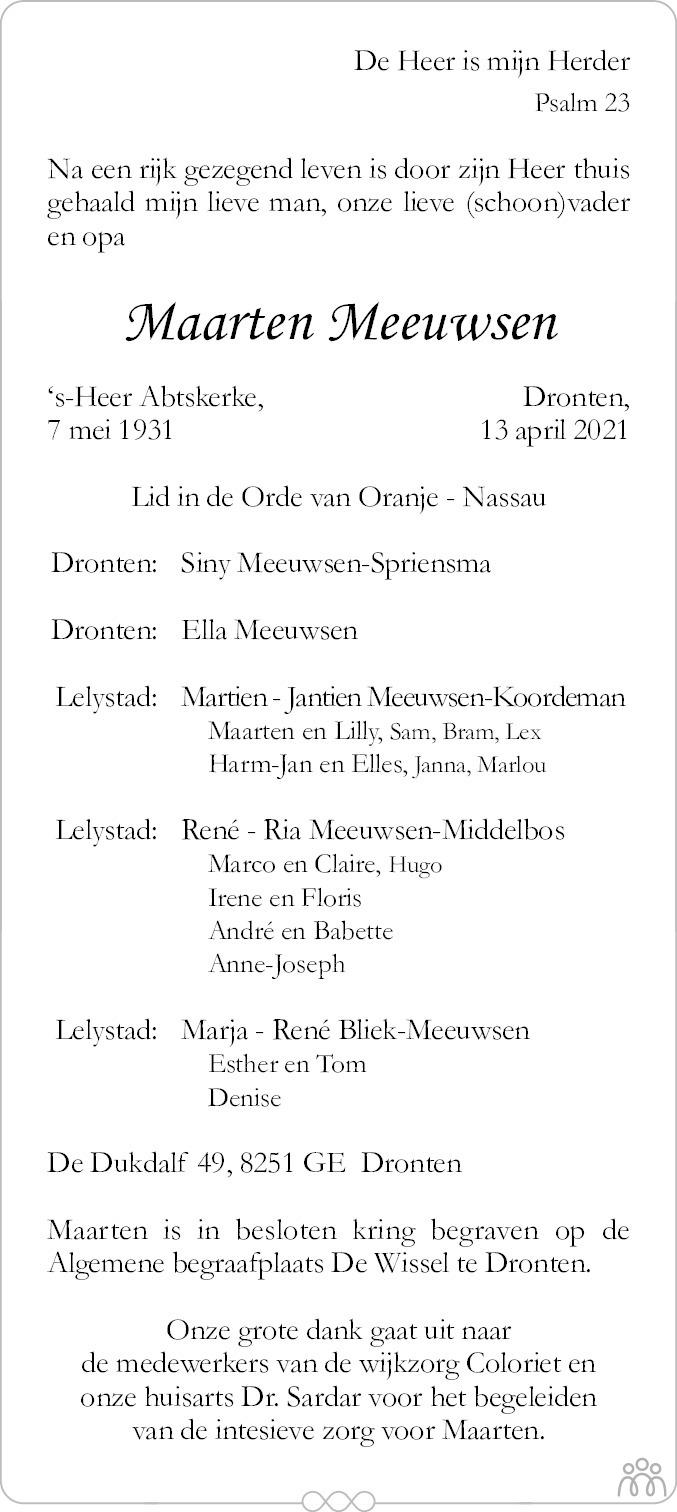 Overlijdensbericht van Maarten Meeuwsen in Flevopost Dronten