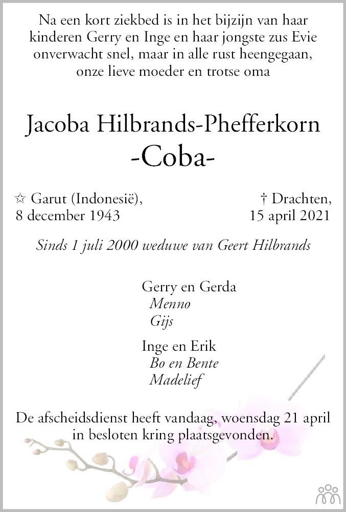 Overlijdensbericht van Jacoba (Coba) Hilbrands-Phefferkorn in Drachtster Courant