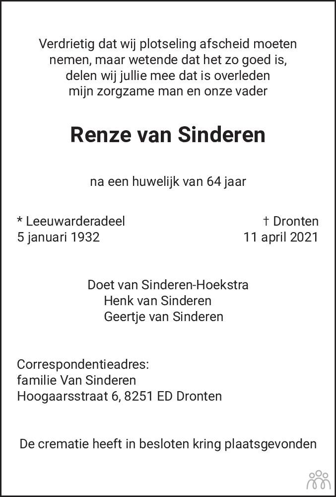 Overlijdensbericht van Renze van Sinderen in Flevopost Dronten