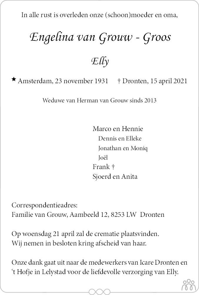 Overlijdensbericht van Engelina (Elly) van Grouw-Groos in Flevopost Dronten