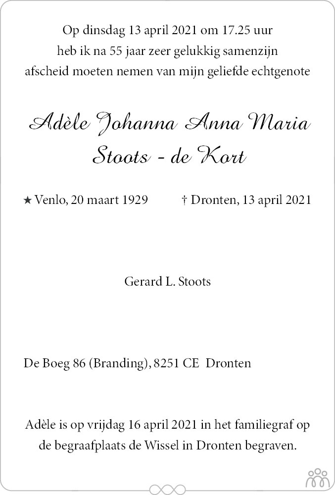 Overlijdensbericht van Adèle Johanna Anna Maria Stoots-de Kort in Flevopost Dronten